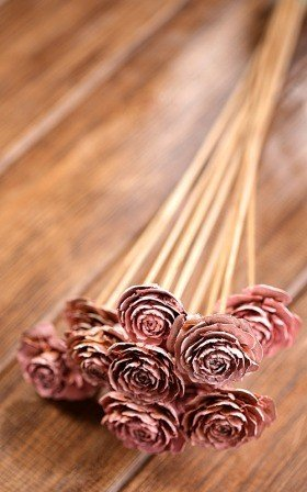 Bouquet of 6 Cedar Wood Roses Floral Picks Light Pink