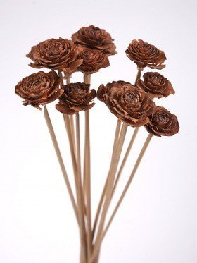 Bouquet of 6 Cedar Wood Roses Floral Picks Natural