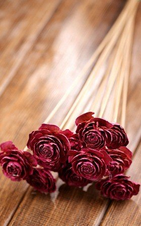 Bouquet of 6 Cedar Wood Roses Floral Picks Pink