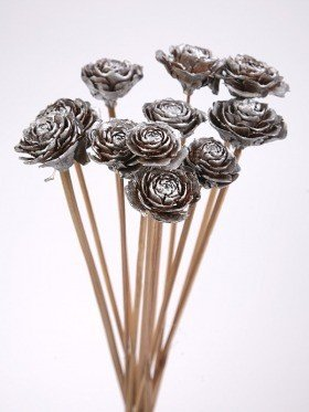 Bouquet of 6 Cedar Wood Roses Floral Picks Silver