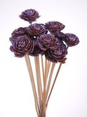 Bouquet of 6 Cedar Wood Roses Floral Picks Violet