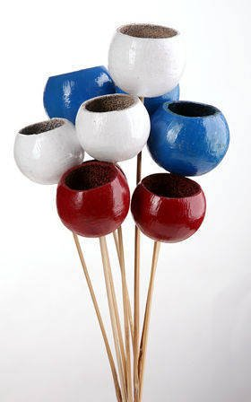 Bouquet of Bell cups Claret-Blue-White, 9 pcs/pkg