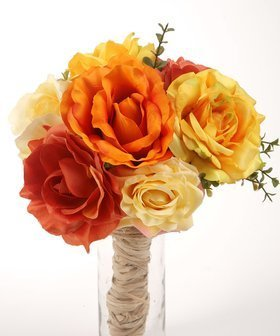 Bouquet of artificial flowers, roses, sunny shades 35/35 cm