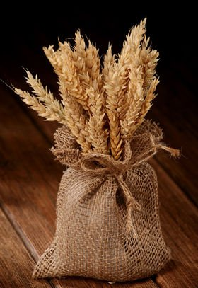 Bouquet of grass, natural grain in a jute bag 25-30 cm