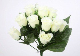 Bouquet of roses in white buds - 38 cm