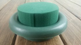 Box - table decoration, inner D 8 cm, ext. D 12 cm - green