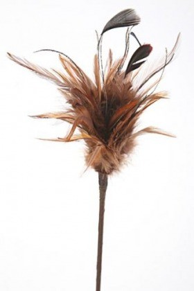 Brown feathers on stick 45 cm