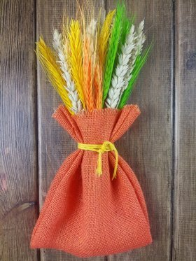 Bunch of cereals in a jute sack, orange