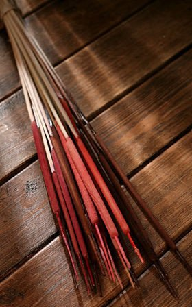 Bunch of water sticks, red-brown