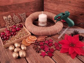 CHRISTMAS DIY garland headdress DIY candle RED GOLD