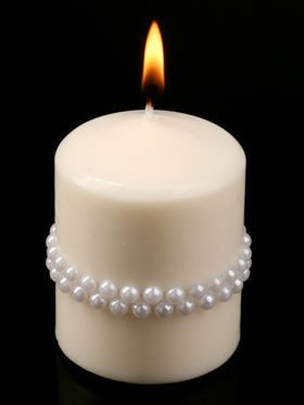 Candle 6/8 cm white pearls
