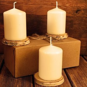 Candle 60/80 mm ecru - 3 pcs