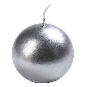 Candle ball, diameter 8 cm – silver metallic