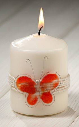 Candle with orange butterfly 55 / 80mm