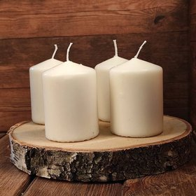 Candles on a wooden slice ecru 6/8 cm 4 pcs / pack
