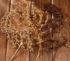 Canella twigs with fruits, 3 pcs/pkg, 20-30 cm, gold-natural-brown