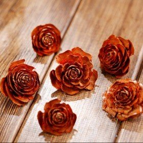 Cedar Wood Roses 12pcs./pack Orange