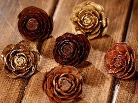 Cedar Wood Roses 12pcs./pack heads brown,gold,natural