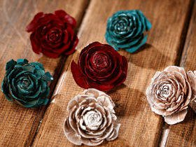 Cedar Wood Roses 12pcs./pack heads white,blue,claret