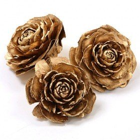 Cedar Wood Roses 6 pcs./pack Gold Lacquered