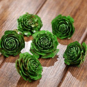 Cedar Wood Roses 6 pcs./pack Green