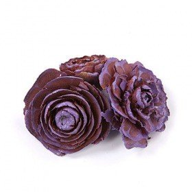 Cedar Wood Roses 6 pcs./pack Violet Lacquered