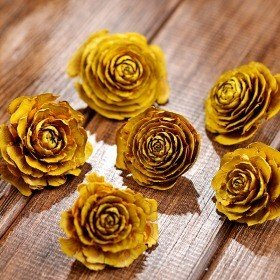 Cedar Wood Roses 6 pcs./pack Yellow
