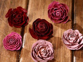 Cedar Wood Roses 6 pcs./pack heads pink