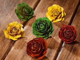 Cedar Wood Roses 6 pcs./pack heads yellow,green,orange
