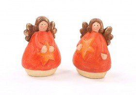 Ceramic angel with star 10 cm