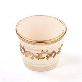 Ceramic flower pot with patterns cream 7 / 8 cm