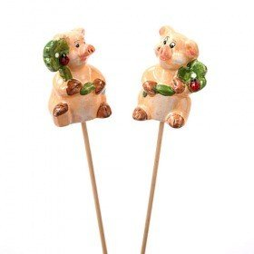 Ceramic pig on stick 4/48 cm