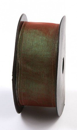 Chiffon ribbon with wire, width 4 cm, length 10m (shiny green)