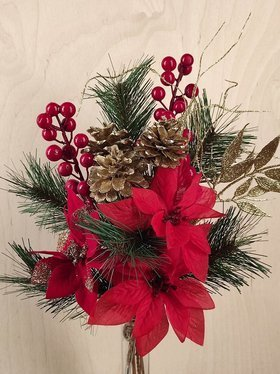 Christmas bouquet red and gold 45 cm
