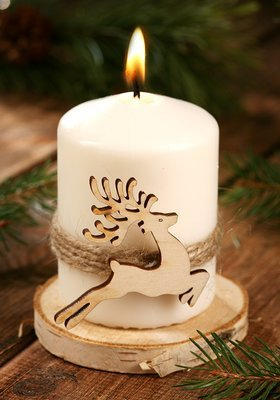 Christmas candle Deer on spruce wood