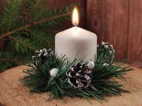Christmas candle, winter, white, 12-12 cm