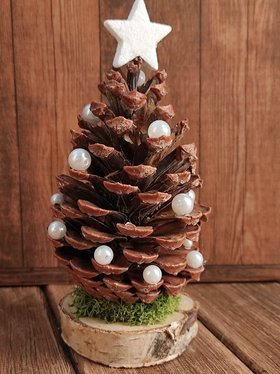Christmas decoration, pine cone with pearls on a wooden base 8-20 cm