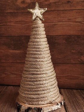 Christmas decorations, 12/16 cm jute rope Christmas tree