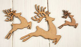Christmas decorations wooden reindeer running  5,7,10 cm 3 pcs / pack