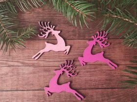 Christmas decorations wooden reindeer running 7 cm 3 pcs / pack