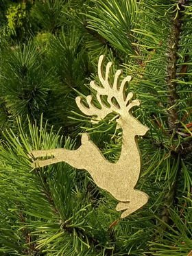 Christmas deer pendant wooden gold 9/11 cm