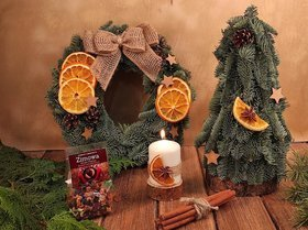Christmas gift. A set of Norwegian garlands, a Christmas tree, a candle