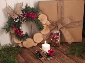 Christmas gift Winter Tea, Wreath and Wooden Headdress