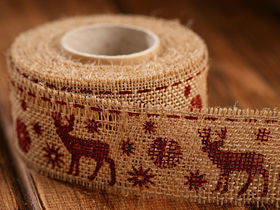 Christmas ribbon brown Reindeer 4 cm / 3 yd