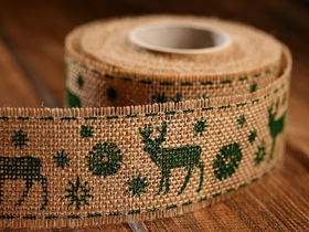 Christmas ribbon green Reindeer 4 cm / 3 yd