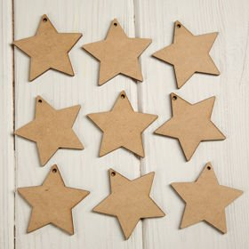 Christmas tree decorations Wooden stars full 5 cm-12 pcs / pack