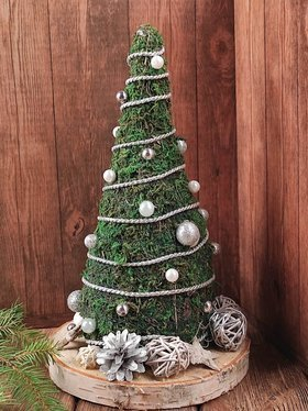 Christmas tree made of moss on a brown base, 16-30 cm