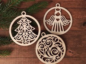 Christmas tree pendants 3 pcs / pack 9 cm