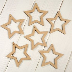 Christmas tree pendants Wooden stars  9 cm-12 pcs / pack