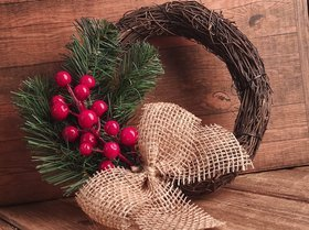 Christmas wreath, winter decoration 21 cm